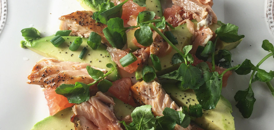 Grapefruit and avocado salad with cedar plank salmon