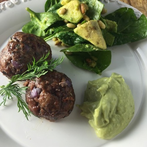 Greek Meatballs with Avocado Tzatziki Sauce and Spinach Salad_OG